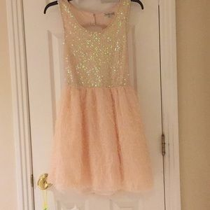 Light pink sequin and feather party dress